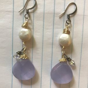 Pearl and stone wrapped dangle earrings